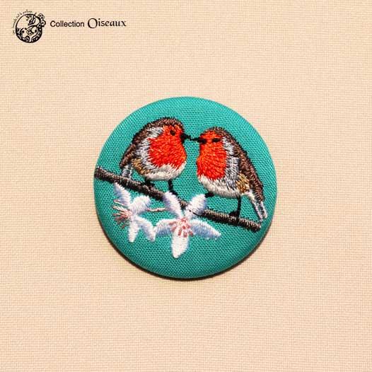 couple de Rouge-gorge broche brodée