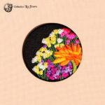 Grande broche brodée bouquet de fleurs