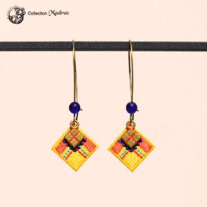 Boucles d'oreilles Madras jaune