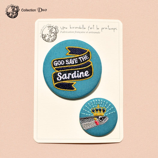 Duo broches brodées God save the sardines