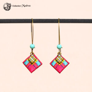 Boucles d'oreilles Madras fuchsia