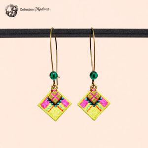 Boucles d'oreilles Madras lime