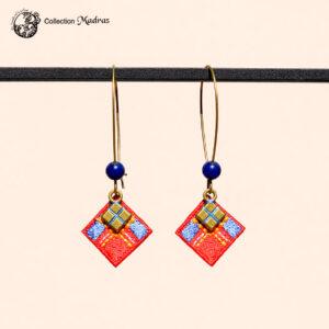 Boucles d'oreilles Madras rouges