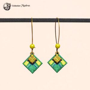 Boucles d'oreilles Madras vert